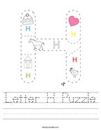 Letter H Puzzle Handwriting Sheet