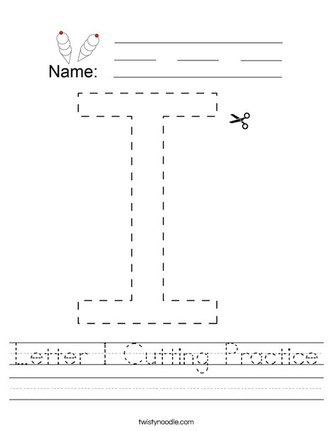 Letter I Cutting Practice Worksheet
