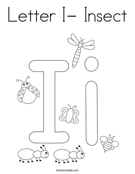 Letter I- Insect Coloring Page