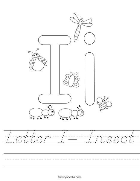 Letter I- Insect Worksheet