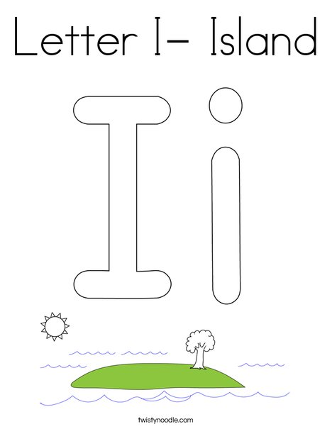 Letter I- Island Coloring Page