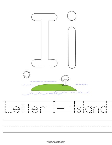 Letter I- Island Worksheet