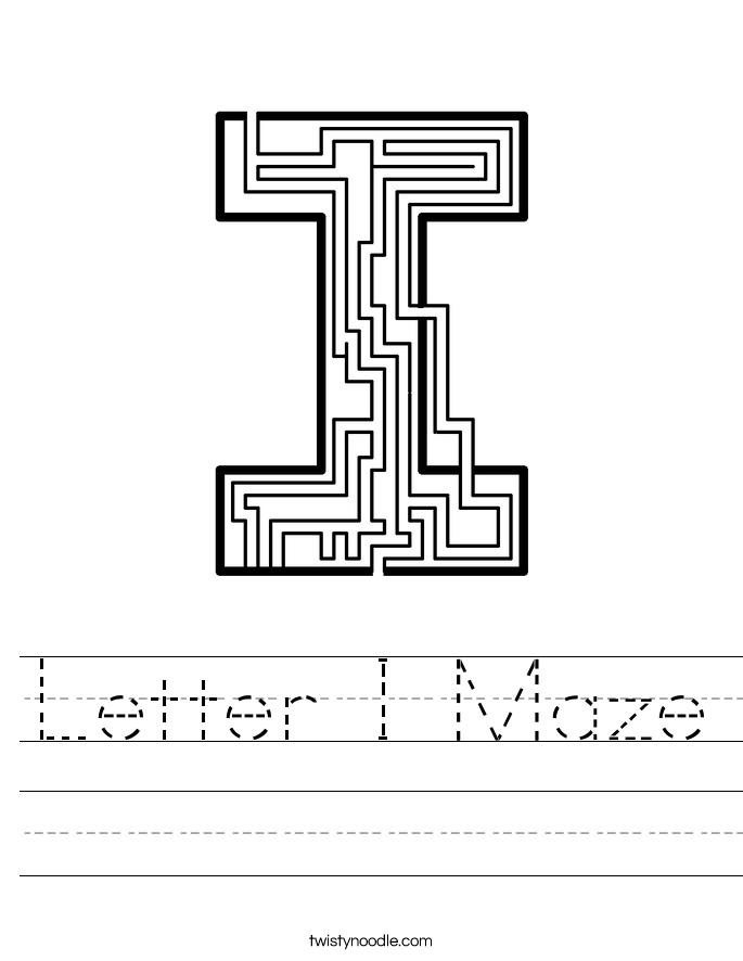 Letter I Maze Worksheet