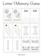 Letter I Memory Game Coloring Page