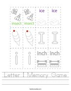 Letter I Memory Game Handwriting Sheet