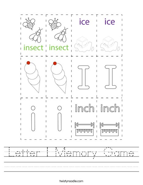 Letter I Memory Game Worksheet