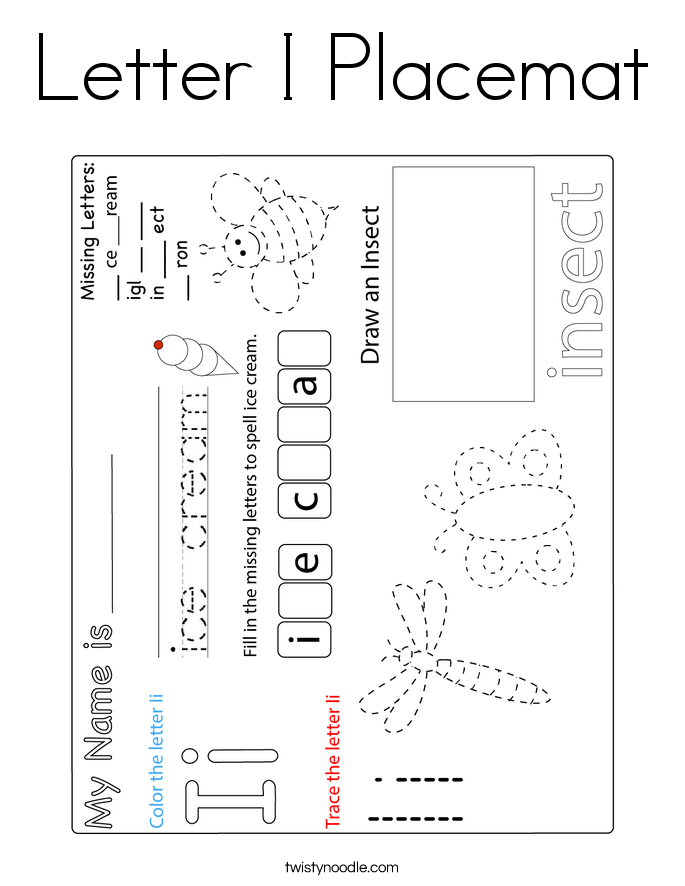 Letter I Placemat Coloring Page