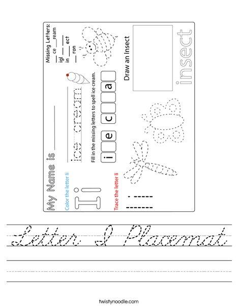 Letter I Placemat Worksheet