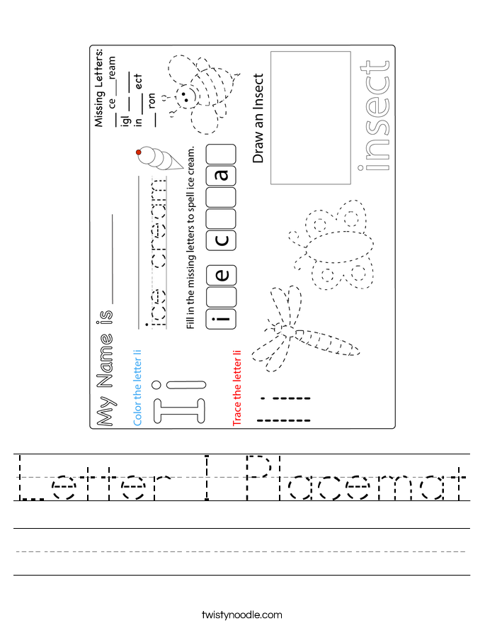 Letter I Placemat Worksheet