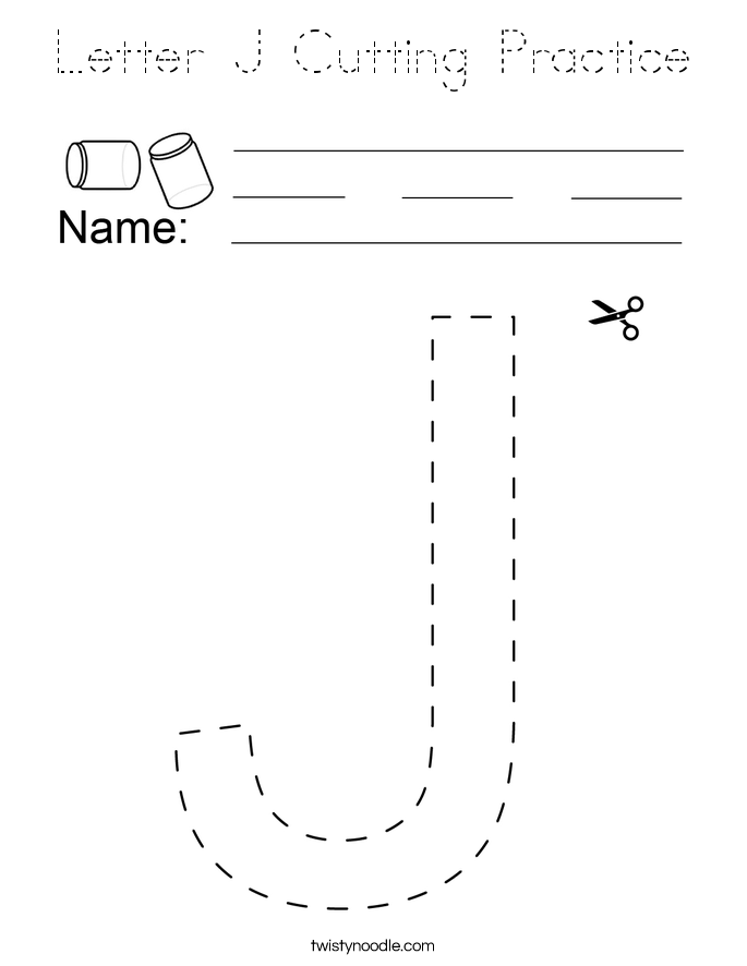 Letter J Cutting Practice Coloring Page