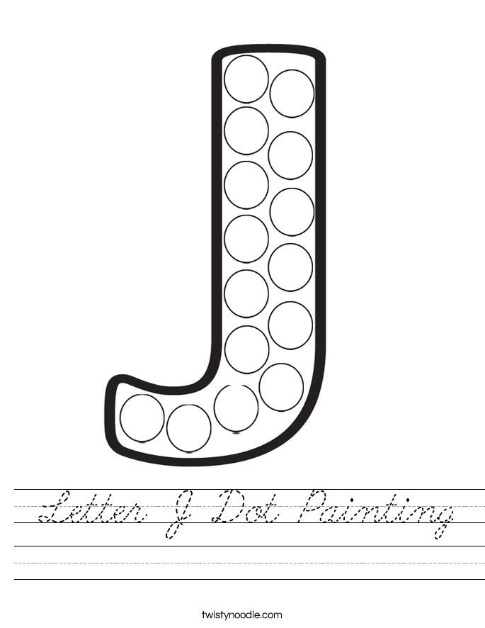 Letter J Dot Painting Worksheet