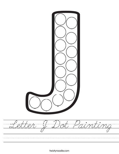 Letter J Dot Painting Worksheet - Cursive - Twisty Noodle