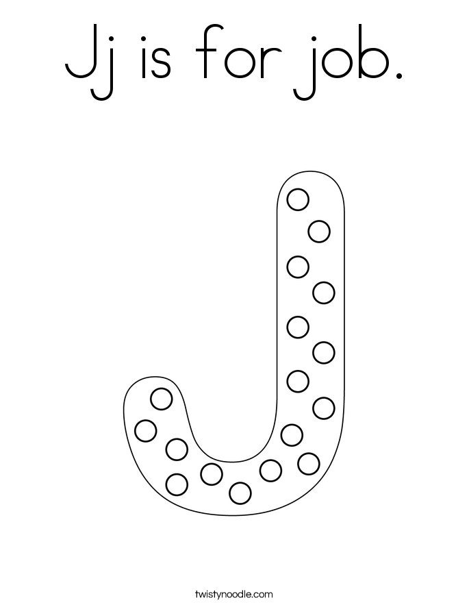 Jj is for job. Coloring Page