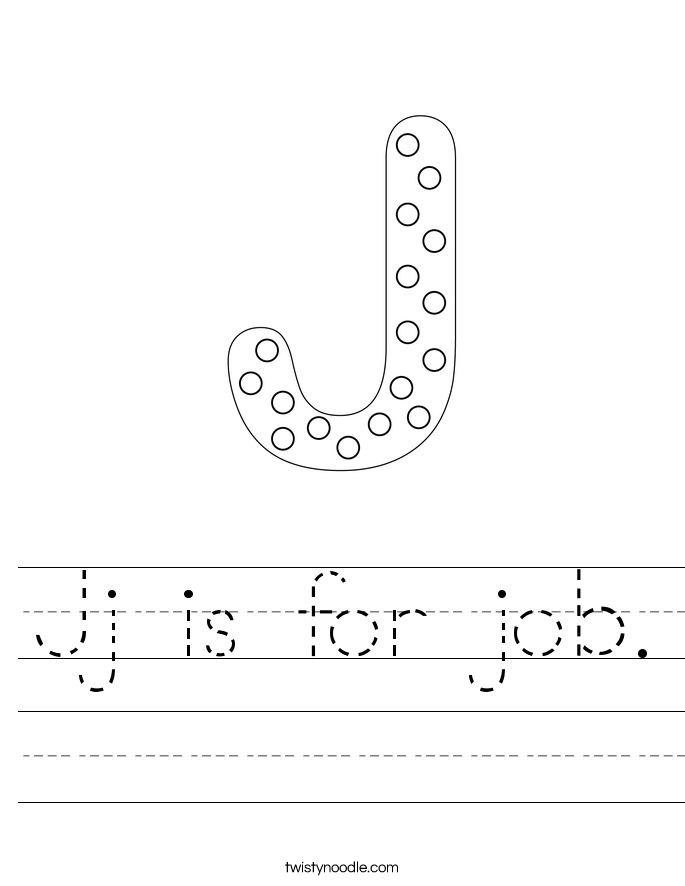 Jj is for job. Worksheet