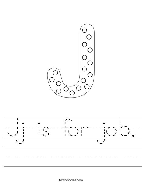 Letter J Dots Worksheet