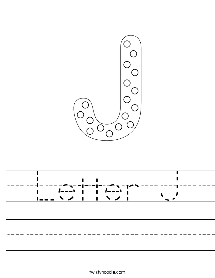 Worksheets Letter J Worksheet letter j worksheets twisty noodle handwriting sheet