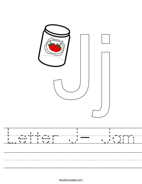 Letter J- Jam Worksheet
