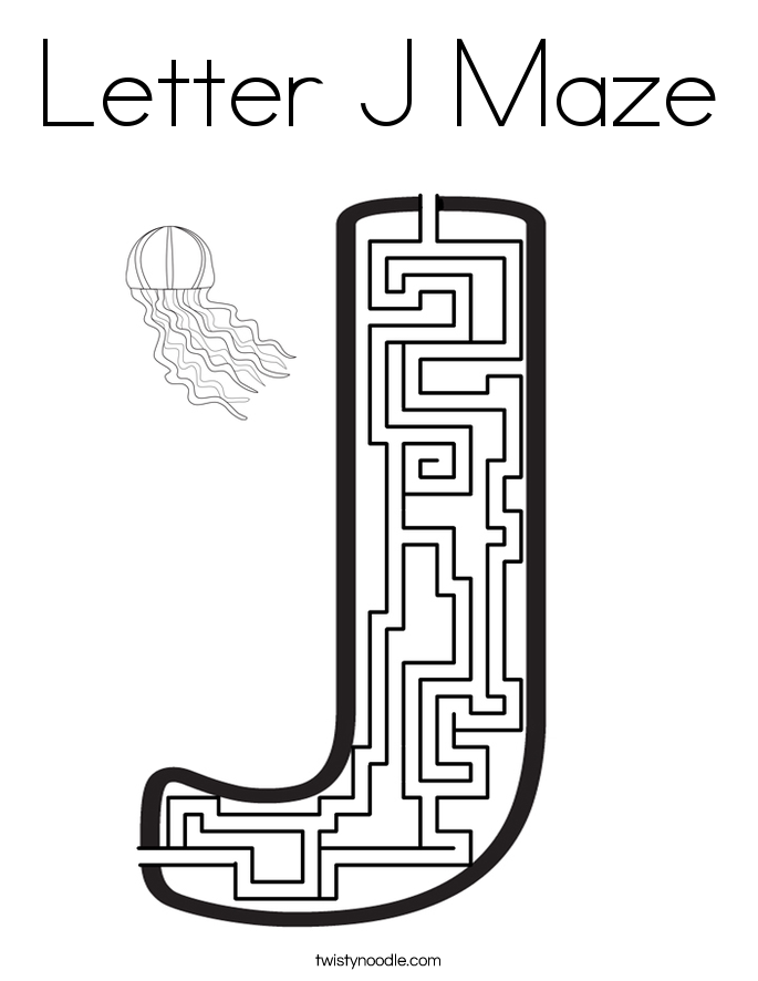 Letter J Maze Coloring Page