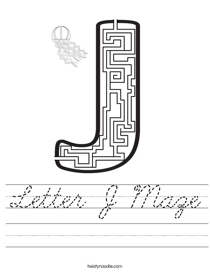 Letter J Maze Worksheet