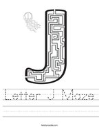 Letter J Maze Handwriting Sheet