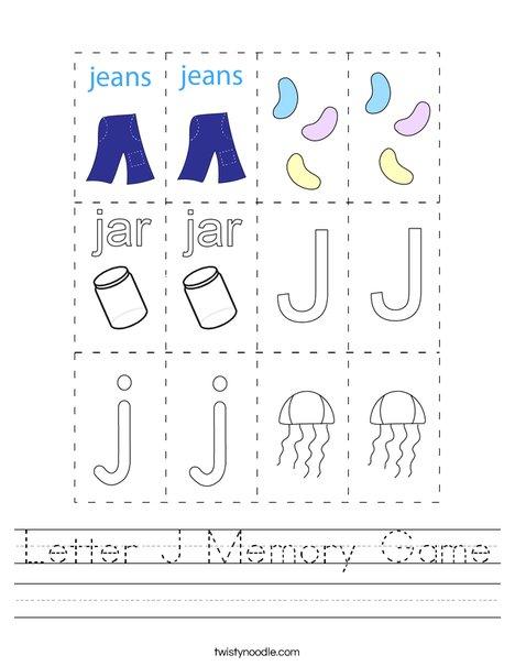 Letter J Memory Game Worksheet