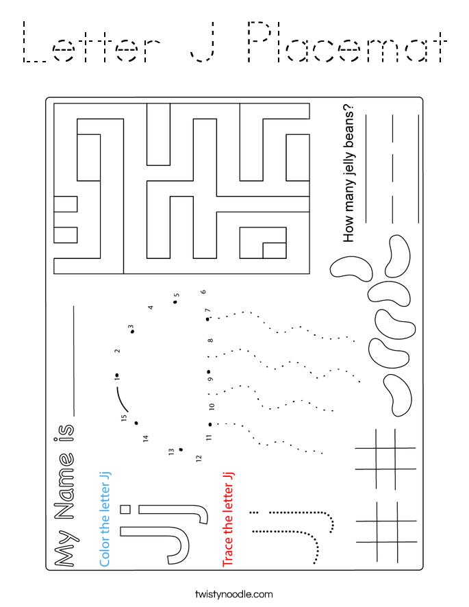 Letter J Placemat Coloring Page