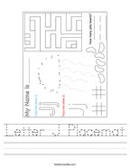 Letter J Placemat Handwriting Sheet