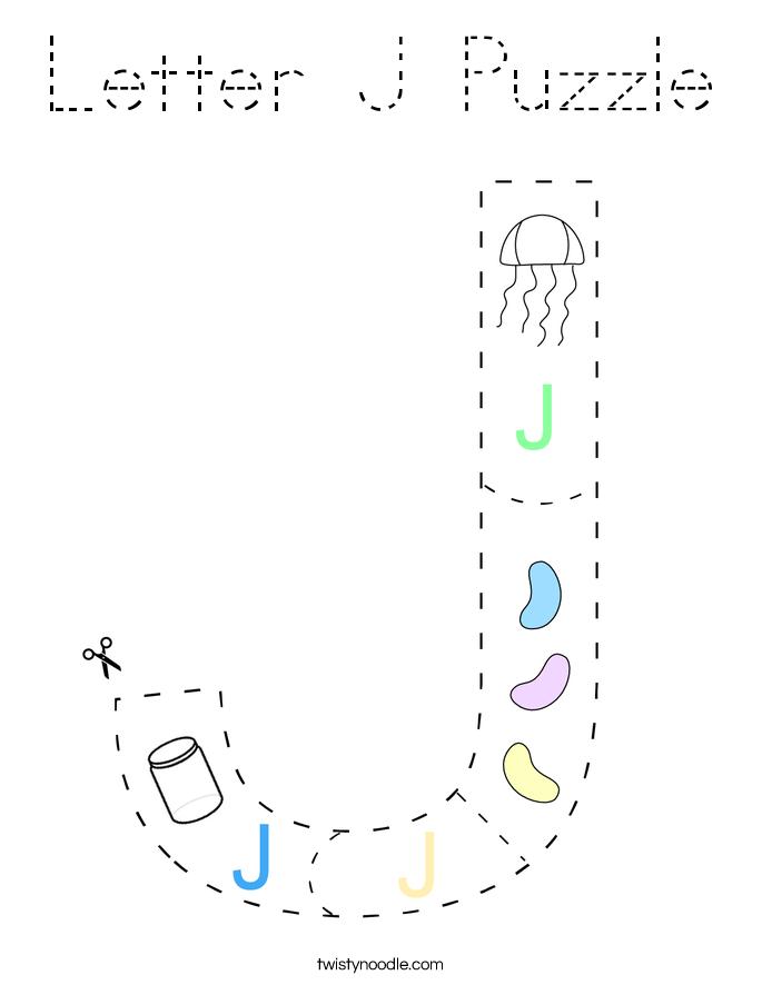 Letter J Puzzle Coloring Page