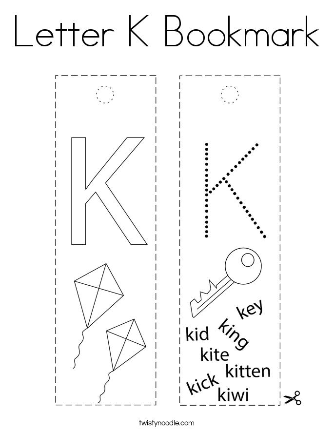 Letter K Bookmark Coloring Page