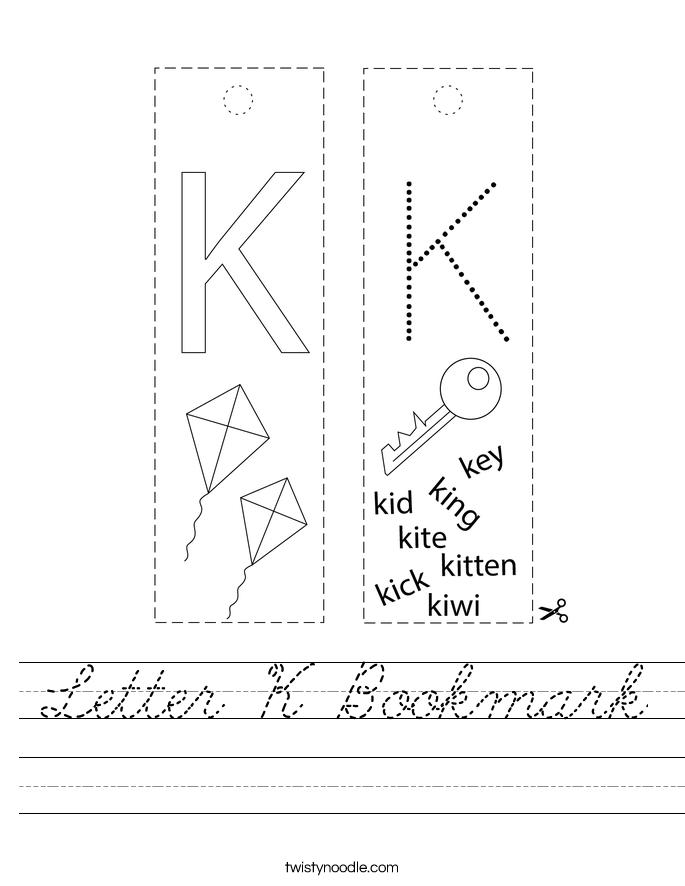 Letter K Bookmark Worksheet