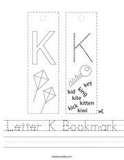 Letter K Bookmark Handwriting Sheet