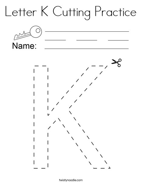 Letter K Cutting Practice Coloring Page