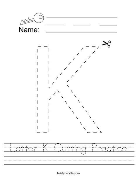 Letter K Cutting Practice Worksheet