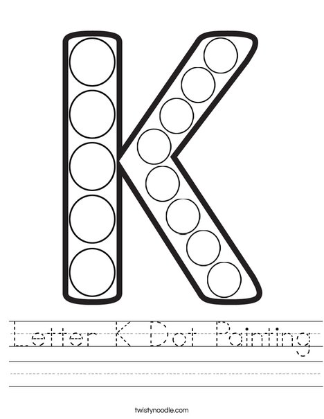 Letter K Dot Painting Worksheet