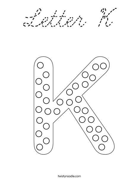 Letter K Dots Coloring Page