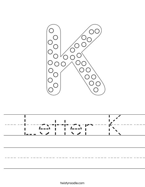 Letter K Dots Worksheet