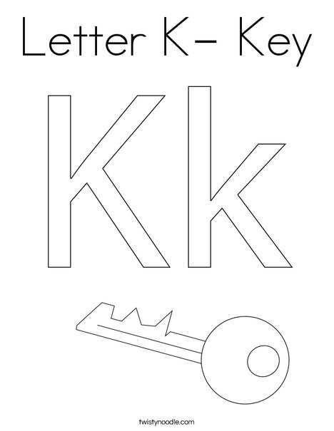 Letter K- Key Coloring Page