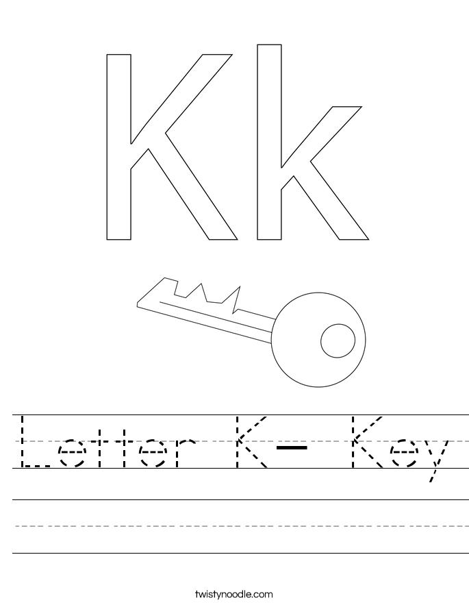 Letter K- Key Worksheet