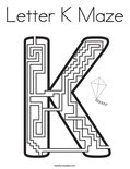 Letter K Maze Coloring Page