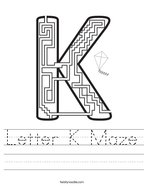 Letter K Maze Handwriting Sheet