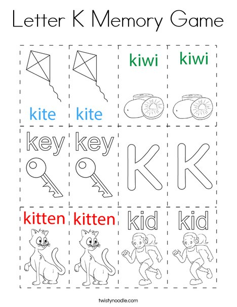 Letter K Memory Game Coloring Page