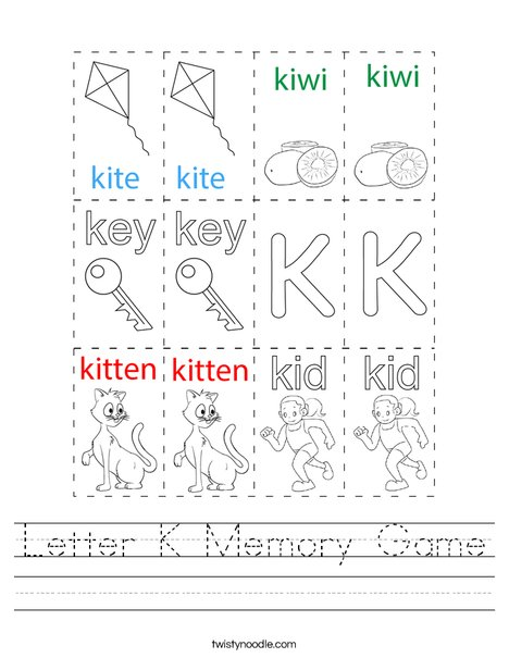 Letter K Memory Game Worksheet