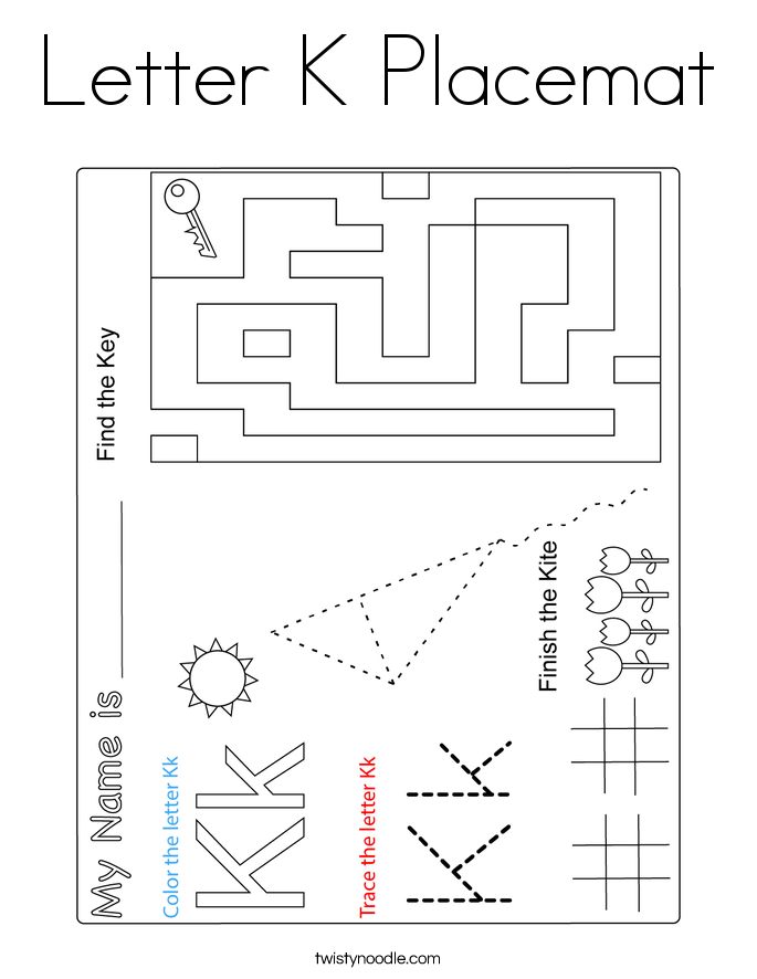 Letter K Placemat Coloring Page