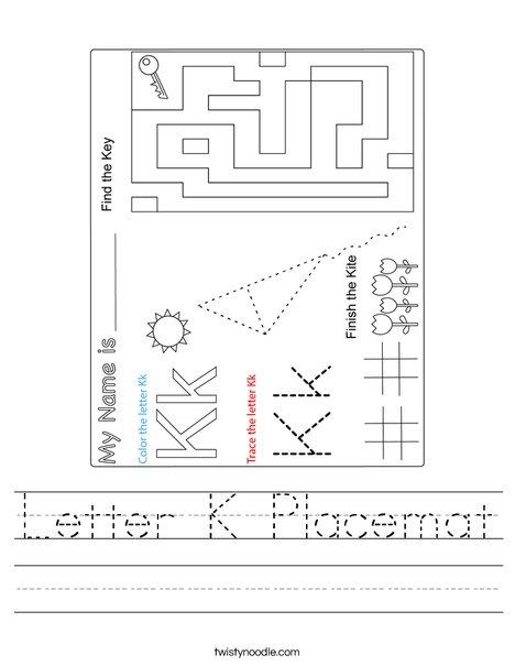 Letter K Placemat Worksheet