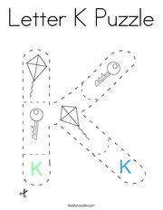 Letter K Puzzle Coloring Page