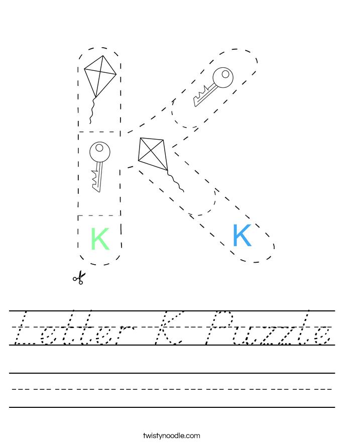 Letter K Puzzle Worksheet