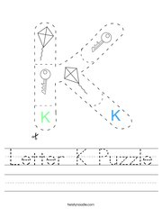 Letter K Puzzle Handwriting Sheet