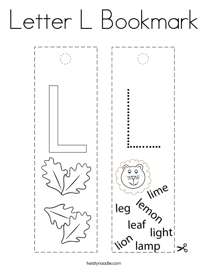 Letter L Bookmark Coloring Page