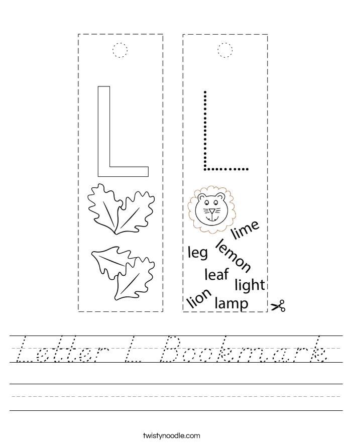 Letter L Bookmark Worksheet