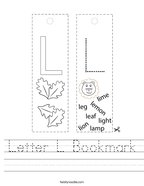 Letter L Bookmark Handwriting Sheet
